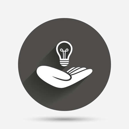 intellectual: Idea patent insurance sign. Hand holds lamp bulb symbol. Intellectual Property. Circle flat button with shadow. Vector Illustration