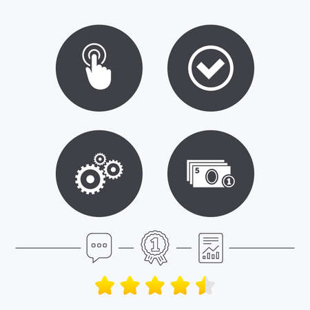 vote here: ATM cash machine withdrawal icons. Click here, check PIN number, processing and cash withdrawal symbols. Chat, award medal and report linear icons. Star vote ranking. Vector