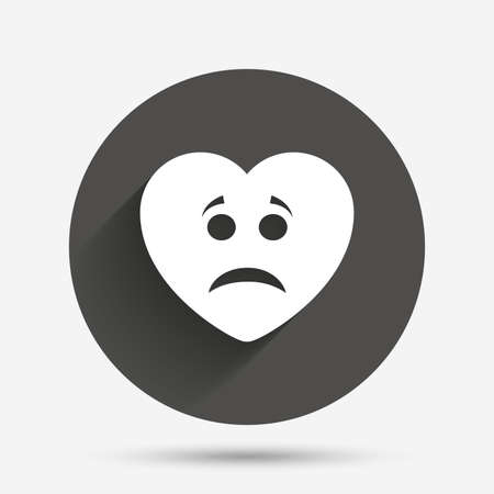 sadness: Sad heart face sign icon. Sadness depression chat symbol. Circle flat button with shadow. Vector