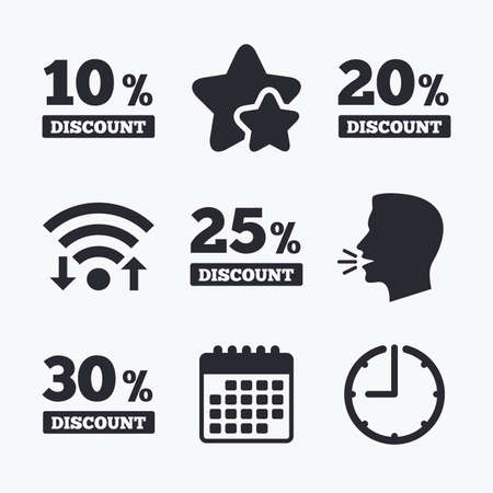 20 25: Sale discount icons. Special offer price signs. 10, 20, 25 and 30 percent off reduction symbols. Wifi internet, favorite stars, calendar and clock. Talking head. Vector