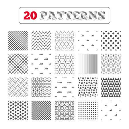 nl: Ornament patterns, diagonal stripes and stars. Top-level internet domain icons. De, Com, Net and Nl symbols. Unique national DNS names. Geometric textures. Vector