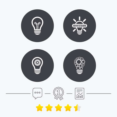 energy ranking: Light lamp icons. Circles lamp bulb symbols. Energy saving with cogwheel gear. Idea and success sign. Chat, award medal and report linear icons. Star vote ranking. Vector