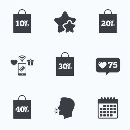 head tag: Sale bag tag icons. Discount special offer symbols. 10%, 20%, 30% and 40% percent discount signs. Flat talking head, calendar icons. Stars, like counter icons. Vector