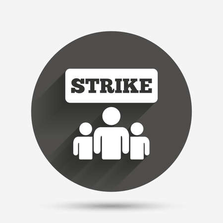 activists: Strike sign icon. Group of people symbol. Industrial action. People protest. Circle flat button with shadow. Vector Illustration