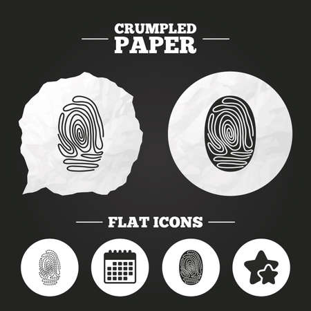 biometric: Crumpled paper speech bubble. Fingerprint icons. Identification or authentication symbols. Biometric human dabs signs. Paper button. Vector