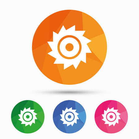 cutting blade: Saw circular wheel sign icon. Cutting blade symbol. Triangular low poly button with flat icon. Vector