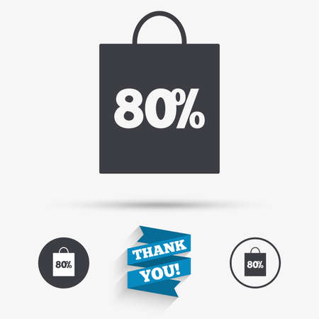 you are special: 80% sale bag tag sign icon. Discount symbol. Special offer label. Flat icons. Buttons with icons. Thank you ribbon. Vector