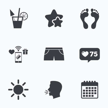 swimming trunks: Beach holidays icons. Cocktail, human footprints and swimming trunks signs. Summer sun symbol. Flat talking head, calendar icons. Stars, like counter icons. Vector