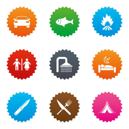 Hiking travel icons. Camping, shower and wc toilet signs. Tourist tent, fork and knife symbols. Stars label button with flat icons. Vector Illustration