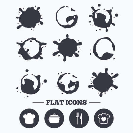 stew: Paint, coffee or milk splash blots. Chief hat and cooking pan icons. Fork and knife signs. Boil or stew food symbols. Smudges splashes drops. Vector Illustration