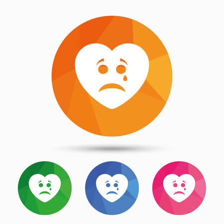 triangular eyes: Sad heart face with tear sign icon. Crying chat symbol. Triangular low poly button with flat icon. Vector