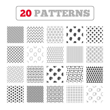 pigtail: Ornament patterns, diagonal stripes and stars. Head icons. Male and female human symbols. Woman with pigtail signs. Geometric textures. Vector