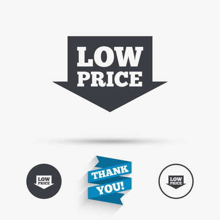 you are special: Low price arrow sign icon. Special offer symbol. Flat icons. Buttons with icons. Thank you ribbon. Vector