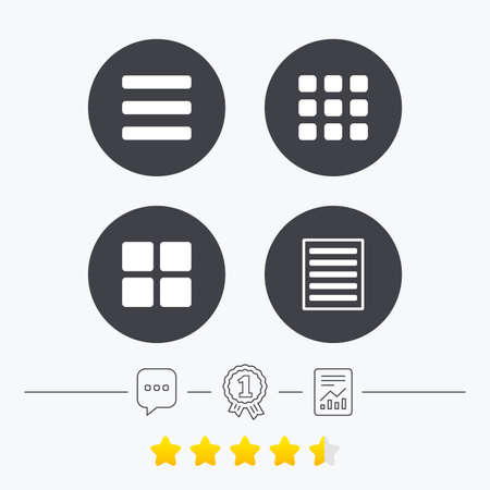 thumbnails: List menu icons. Content view options symbols. Thumbnails grid or Gallery view. Chat, award medal and report linear icons. Star vote ranking. Vector Illustration