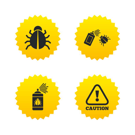 insanitary: Bug disinfection icons. Caution attention symbol. Insect fumigation spray sign. Yellow stars labels with flat icons. Vector