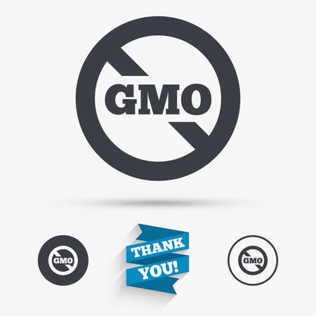 modified: No GMO sign icon. Without Genetically modified food. Stop GMO. Flat icons. Buttons with icons. Thank you ribbon. Vector Illustration