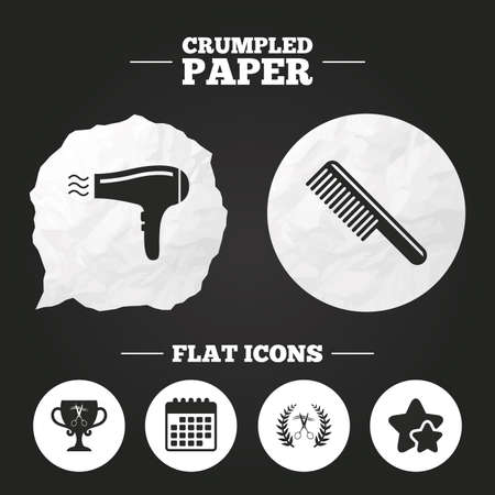 comb hair: Crumpled paper speech bubble. Hairdresser icons. Scissors cut hair symbol. Comb hair with hairdryer symbol. Barbershop laurel wreath winner award. Paper button. Vector