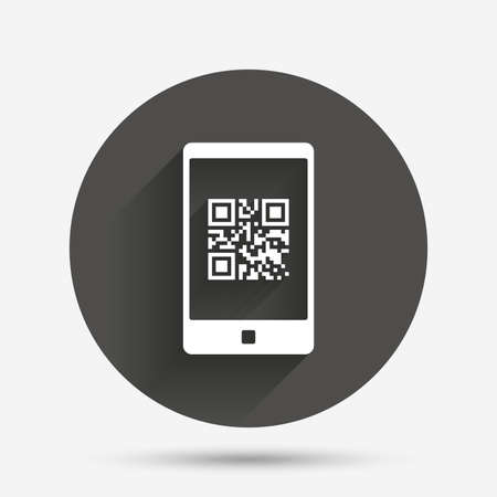 coded: Qr code sign icon. Scan code in smartphone symbol. Coded word - success! Circle flat button with shadow. Vector Illustration