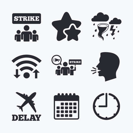 bad weather: Strike icon. Storm bad weather and group of people signs. Delayed flight symbol. Wifi internet, favorite stars, calendar and clock. Talking head. Vector