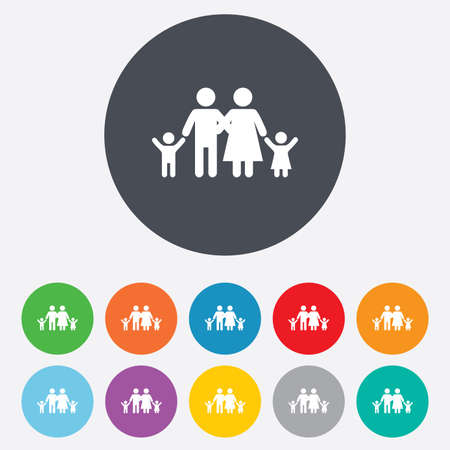 Family icon. Parents with children symbol. Family insurance. Round colourful 11 buttons. Vector Illustration