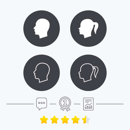 pigtail: Head icons. Male and female human symbols. Woman with pigtail signs. Chat, award medal and report linear icons. Star vote ranking. Vector Illustration