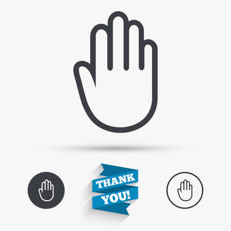 give me five: Hand sign icon. No Entry or stop symbol. Give me five. Flat icons. Buttons with icons. Thank you ribbon. Vector Illustration