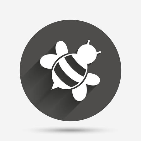 pollination: Bee sign icon. Honeybee or apis with wings symbol. Flying insect diagonal. Circle flat button with shadow. Vector Illustration