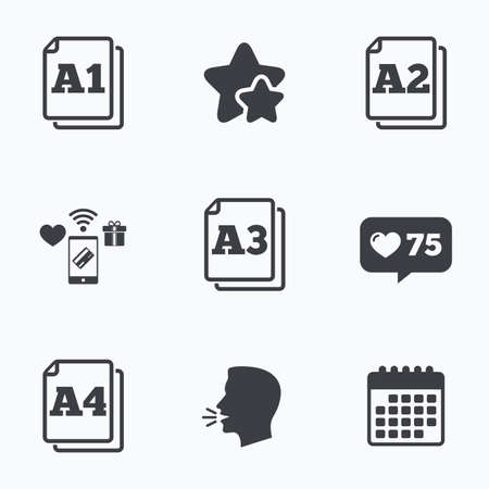 head paper: Paper size standard icons. Document symbols. A1, A2, A3 and A4 page signs. Flat talking head, calendar icons. Stars, like counter icons. Vector