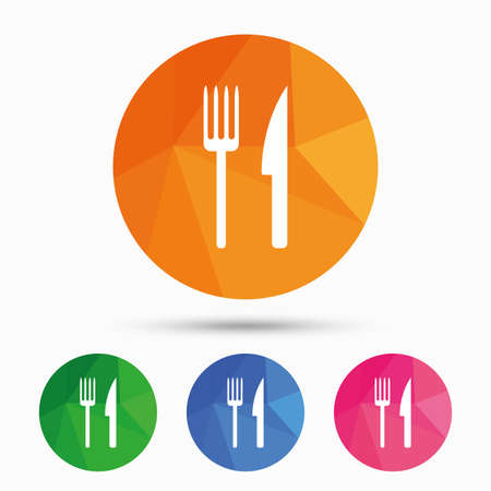 Eat sign icon. Cutlery symbol. Fork and knife. Triangular low poly button with flat icon. Vector
