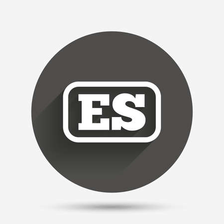 vector es: Spanish language sign icon. ES translation symbol with frame. Circle flat button with shadow. Vector
