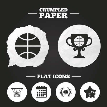 crumpled paper ball: Crumpled paper speech bubble. Basketball sport icons. Ball with basket and award cup signs. Laurel wreath symbol. Paper button. Vector Illustration
