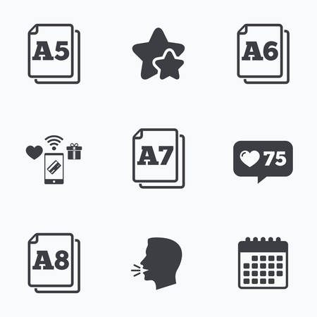 a7: Paper size standard icons. Document symbols. A5, A6, A7 and A8 page signs. Flat talking head, calendar icons. Stars, like counter icons. Vector