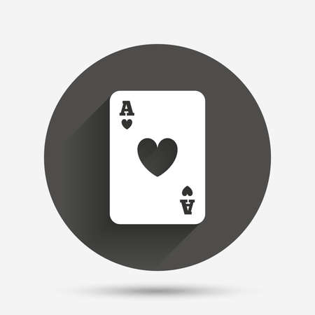 ace of hearts: Casino sign icon. Playing card symbol. Ace of hearts. Circle flat button with shadow. Vector
