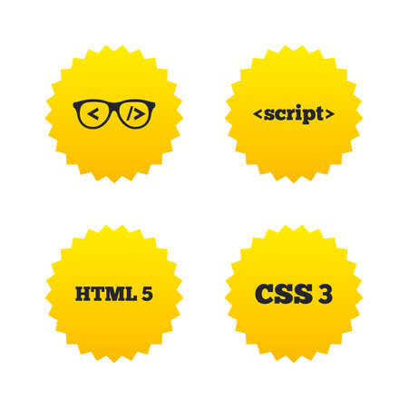 css3: Programmer coder glasses icon. HTML5 markup language and CSS3 cascading style sheets sign symbols. Yellow stars labels with flat icons. Vector