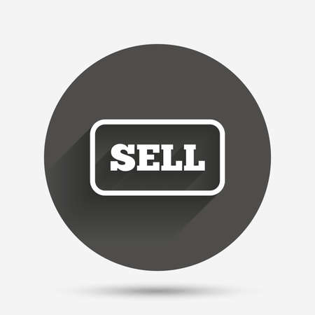 contributor: Sell sign icon. Contributor earnings button. Circle flat button with shadow. Vector