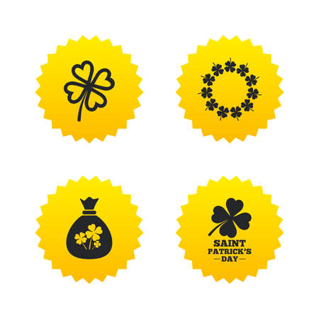 feast of saint patrick: Saint Patrick day icons. Money bag with clover sign. Wreath of quatrefoil clovers. Symbol of good luck. Yellow stars labels with flat icons. Vector Illustration