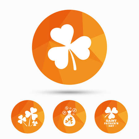 Saint Patrick day icons. Money bag with clover and coins sign. Trefoil shamrock clover. Symbol of good luck. Triangular low poly buttons with shadow. Vector