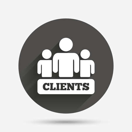 shadow people: Clients sign icon. Group of people symbol. Circle flat button with shadow. Vector