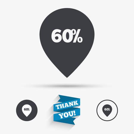 you are special: 60% sale pointer tag sign icon. Discount symbol. Special offer label. Flat icons. Buttons with icons. Thank you ribbon. Vector