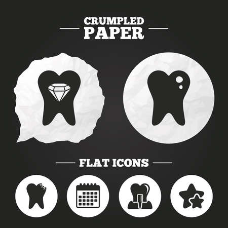 crystal button: Crumpled paper speech bubble. Dental care icons. Caries tooth sign. Tooth endosseous implant symbol. Tooth crystal jewellery. Paper button. Vector
