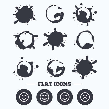 sorrowful: Paint, coffee or milk splash blots. Smile icons. Happy, sad and wink faces symbol. Laughing lol smiley signs. Smudges splashes drops. Vector Illustration