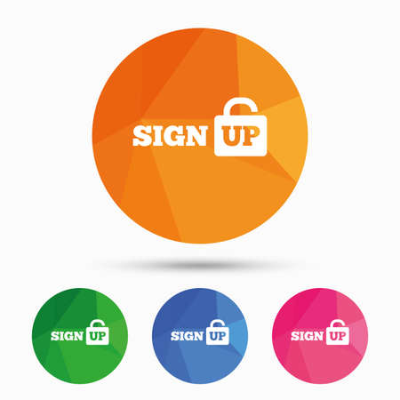 lock up: Sign up sign icon. Registration symbol. Lock icon. Triangular low poly button with flat icon. Vector