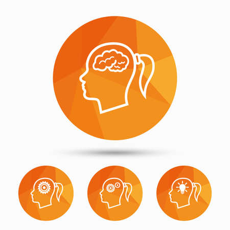 Head with brain and idea lamp bulb icons. Female woman think symbols. Cogwheel gears signs. Triangular low poly buttons with shadow. Vector