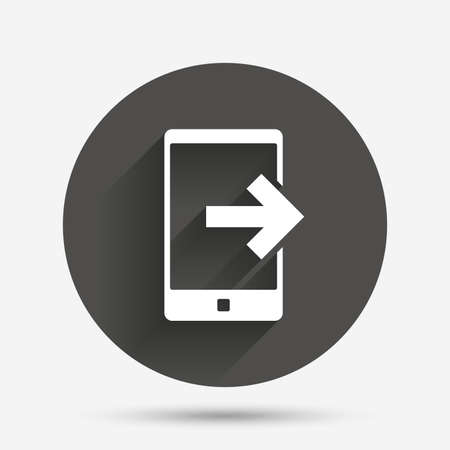 outcoming: Outcoming call sign icon. Smartphone symbol. Circle flat button with shadow. Vector