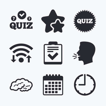 feedback form: Quiz icons. Human brain think. Checklist symbol. Survey poll or questionnaire feedback form. Questions and answers game sign. Wifi internet, favorite stars, calendar and clock. Talking head. Vector Illustration