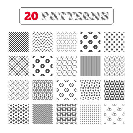 hazard stripes: Ornament patterns, diagonal stripes and stars. Information icons. Stop prohibition and attention caution signs. Approved check mark symbol. Geometric textures. Vector