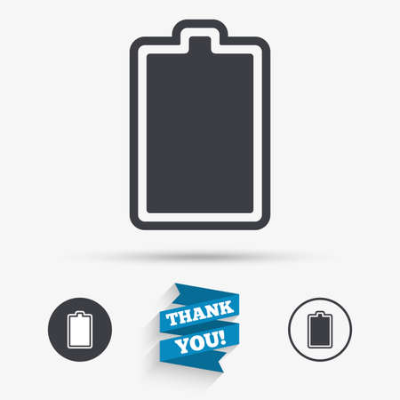 fully: Battery fully charged sign icon. Electricity symbol. Flat icons. Buttons with icons. Thank you ribbon. Vector