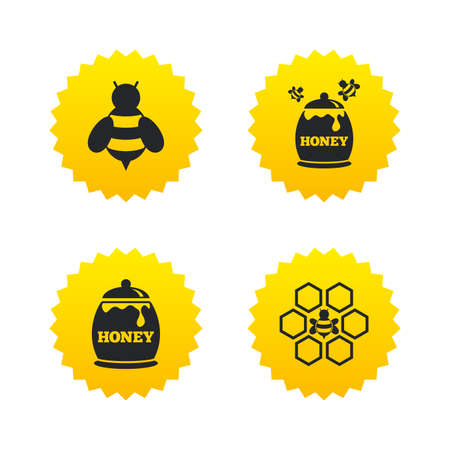 fructose: Honey icon. Honeycomb cells with bees symbol. Sweet natural food signs. Yellow stars labels with flat icons. Vector Illustration
