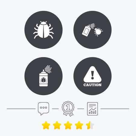 disinfection: Bug disinfection icons. Caution attention symbol. Insect fumigation spray sign. Chat, award medal and report linear icons. Star vote ranking. Vector Illustration