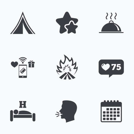 breakfast in bed: Hot food, sleep, camping tent and fire icons. Hotel or bed and breakfast. Road signs. Flat talking head, calendar icons. Stars, like counter icons. Vector